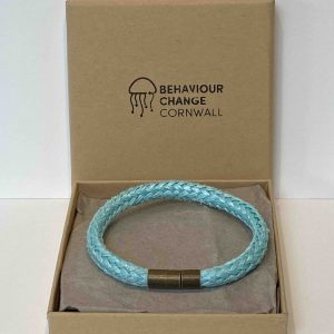 Crantock Beach Bracelet Cyan <br><br><i>Recycled from Ghost Fishing Nets <br> Handmade Cornish Jewellery </I>